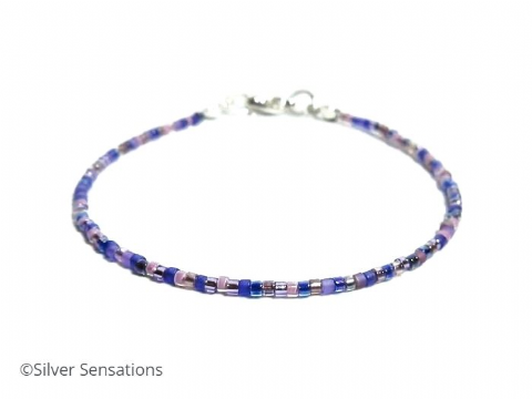 Dainty Purple Mix Seed Bead Boho Friendship Bracelet